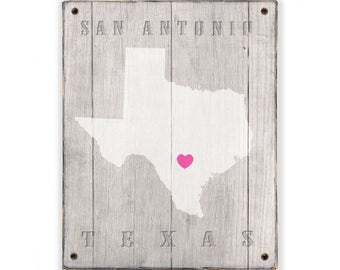 TEXAS Rustic print sign - Customized for your town or city in Texas - Rustic weathered wood sign