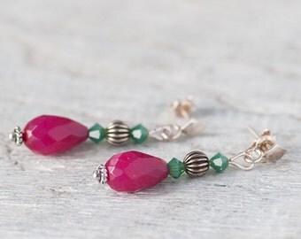 Raspberry Jade Drop Bohemian Earrings Christmas Gift For Wife Mom Gift Ruby Pink Drop Earrings Christmas Jewelry Stud Boho Earrings