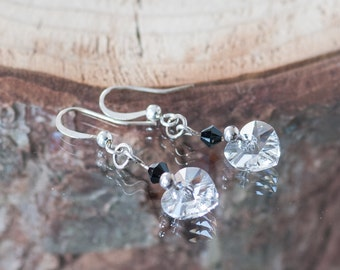 Swarovski Crystal Heart Earrings Lucid White Earrings Winter Jewelry Christmas Gift Idea For Her April Birthstone Birthday Gift