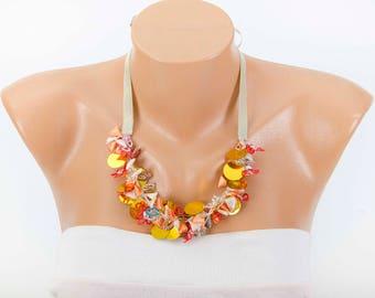 Fiber necklace .bridesmaid necklace