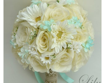 "17 Piece Package Silk Flowers Wedding Bouquet Artificial Bridal Bouquets ROBIN's EGG BLUE Cream Ivory Burlap Rustic ""Lily of Angeles"" TIIV03"