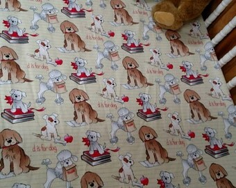 D is for DOG . Puppy themed Crib or Toddler bed size flannel fitted sheet