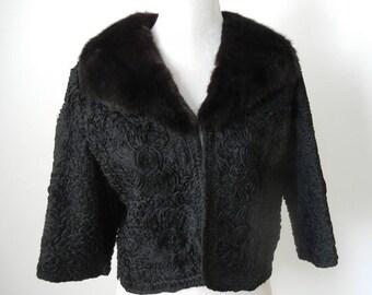 20% OFF Vintage Jacket, 1950s Jacket, Vintage 50s Bolero, Black Cropped Jacket, Mink Fur Jacket, Vintage Fur Bolero, 50s Black Jacket, Retro