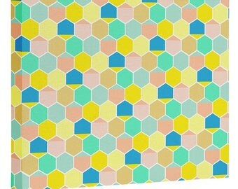 Scandinavian Bee Hive Wall Canvas. Pastel Honeycomb Geometric. Baby Nursery Girls Bedroom Decor. Whimsical Chic Spring Summer Home Decor