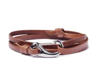 Men's Bracelets - Leather Bracelet for Men - Brown leather bracelet - leather silver bracelet for Men - wrap adjustable bracelet for men
