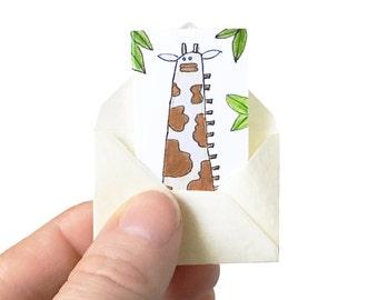 Giraffe Birthday Card, Tiny Birthday Card, Miniature Card and Tiny Envelope, Giraffe Card, Tiny Greeting Card, Blank Card for Animal Lover