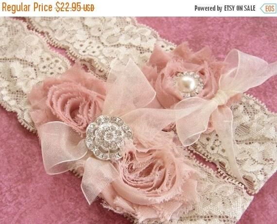 WEDDING SALE 20% OFF Vintage Wedding Garter Dusty Rose Bridal Garter Set  Lace Garter  with Toss Garter Ivory with Rhinestones and Pearls  C