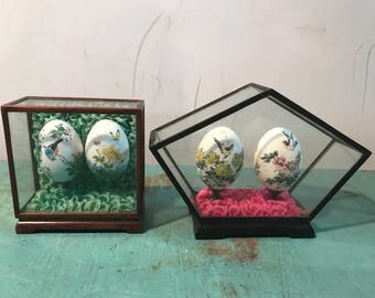 Vintage set of 2 pieces Chinese  hand painted ornamental Eggs in  glass display box , hand painted eggs, 60s 70s, Asian  Collectible