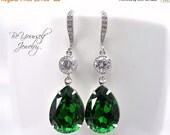 Emerald Bridal Earrings Green Teardrop Bride Earrings Swarovski Crystal Dark Moss Wedding Jewelry Dark Green Bridesmaid Gift Cubic Zirconia