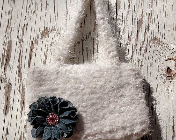 Knit Purse in White Sparkly Fur with Crystal and Denim Flower