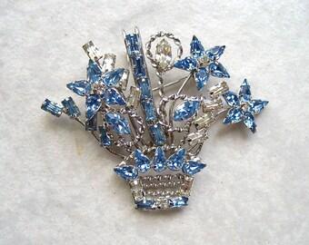 Vintage Sterling Rhinestone Brooch Flower Basket Blue Crystal Star-Art