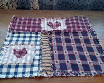 """Handmade Rag Quilted Candle Mat/smalTable Runner 11.5 X 10"""" homespun, navy dobby star & black/tan ticking 2 hearts Ready to Ship"""