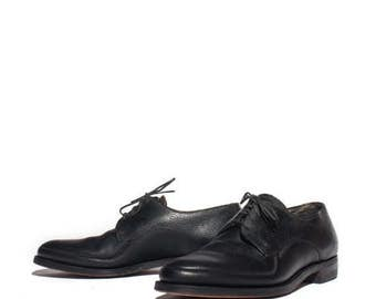 SALE 7 D | 1950's 1960's Vintage Men's Black Oxfords Walking Shoes by Freeman