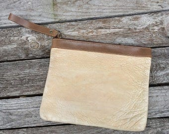 80's Metallic Leather Wristlet Clutch