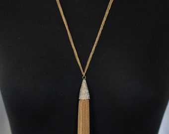 SALE - Bib Necklace, Crystal and gold chain necklace Lariat, Gift for her, Best friend gift, Long necklace, Tassel necklace and crystals