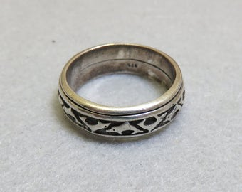 Size 11 1/2 Sterling Silver Dolphin Spinner Ring, Men's Spinner Ring, Dolphin Ring
