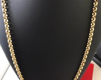 Long Sturdy Monet Signed Rolo Link Chain Necklace