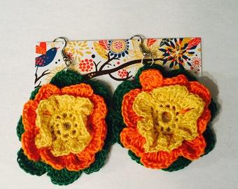 Crochet Flower Earrings. Boho Style Earrings. Folk Style