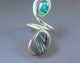 Opal and Abalone- Adjustable Size- Hammered Golden Swirl Statement Ring