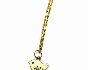 Gold plated bird charm necklace - gold plated chain