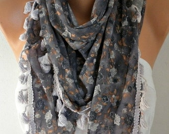 ON SALE --- Floral Printed Scarf Shawl Spring Cotton Scarf Cowl Scarf Gift Ideas For Her Women Fashion Accessories
