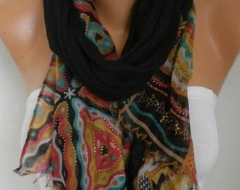 ON SALE --- Black Cotton Scarf, Shawl,Summer, Cowl Oversized Wrap Pareo Bridesmaid Gift Gift Ideas For Her Women Fashion Accessories Women S