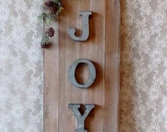 Christmas Decoration, JOY Sign, Wood Wall Decor Rustic Cottage, Farmhouse Christmas, Holiday decor