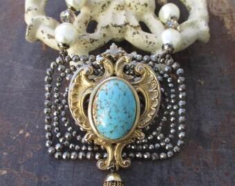 Antique tassel crochet pearl necklace - Regency - mixed metal fringe upcycled eco chic fall statement boho by slashKnots