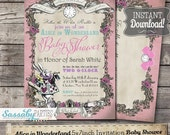 ON SALE Alice in Wonderland Baby Shower Invitation - Pink Pastel - INSTANT Download -  partially Editable & Printable Party Invite Sassaby P