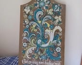 Danish Bread Board, Screen Printed Floral Scandinavian Design, Kitchen Decor, Countertop Bread Board, Cutting Board,