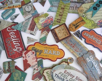 24 chipboard embellishments - retro inspired embellishments - scrapbook supplies - card making - mixed media - paper craft supplies