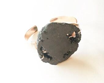 Black Geode Wire Wrapped Cuff, Black Jewelry, Black Bracelet, Crystal Jewelry, Crystal Bracelet, Wire Bangles, Gussied, Healing Jewelry