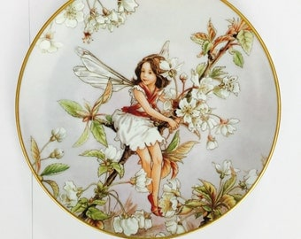 The Wild Cherry Blossom Fairy Flower Wall Display Plate Cicely Mary Barker Bone China Plate Pottery German Chintz Heinrich Villeroy and Boch