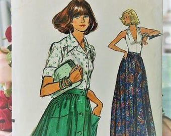 1970's Vintage Very Easy Vogue Long or Short Front Button Dirndl Full Skirt Mid-Knee or Evening Length 8920 Sewing Pattern Waist 26 1/2