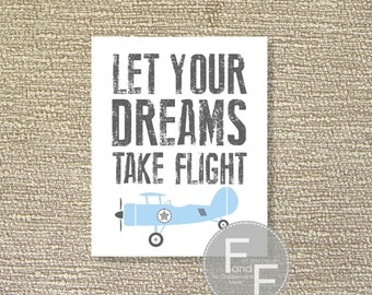 Vintage Airplane, Airplane Printable Wall Art, Flight, Boy's Room Decor, Airplane Decor, Light Blue- File Download