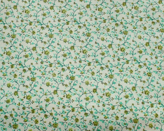"""Spearmint green flower fabric,Small flower fabric,Calico cotton fabric,Lightweight,Reproduction fabric,100% cotton,END OF BOLT 29"""" x 44"""""""