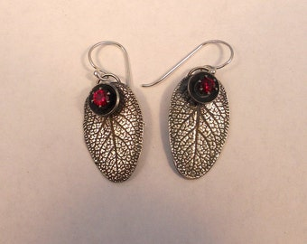 Ruby Fine Silver Leaf Earrings