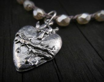 Romantic crochet heart necklace - Rustic Romance - Bohemian Chic, Winter White silver pewter pendant  jewelry by GlowCreek