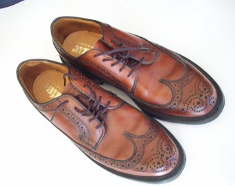 Mens Brown Leather Wingtip Shoes, Dexter shoemakers to America, 7D