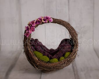 Instant Download Newborn Digital Backdrop!! Flower Basket digital backdrop! Natural digital backdrop! Easy to use.