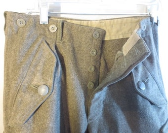 WWII Swedish Wool Military Pants // Army Wool Pants // Button Fly // Suspender Buttons