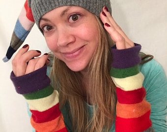 rainbow stocking cap upcycled knit hat by HopeFloats