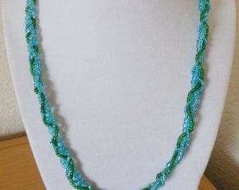 Vintage braided 3 strand seed bead necklace/vintage blue and green braided seed bead necklace/womens braided blue and green seed bead neckla