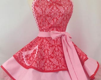 Damask Iridescent Pin Up Apron, Red and Pink /Women's Apron
