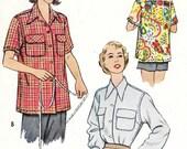 Vintage Camp Blouse Pattern Button Front Shirt Juniors Overshirt Back Yoke 1950s McCalls 8336 sz 12 Bust 30 Small