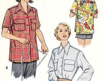 Vintage Camp Shirt Pattern Button Front Juniors Blouse Overshirt Back Yoke 1950s McCalls 8336 sz 12 Bust 30 Small