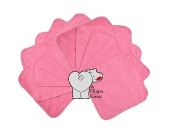 Baby Washcloths Dark Pink 10 Pack