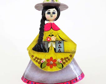 "RARE Mexican Senorita Folk Art Paper-Mache Doll / Mid Century from Nuno Oaxaco, Mexico / 8.5"" Tall w Triangle Dress / Folk Art Collectible"