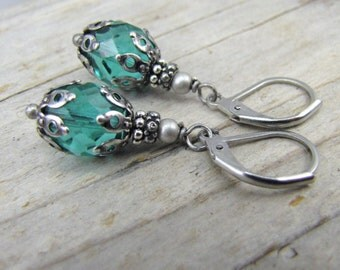 Teal earrings minimalist tiny glass drop antique style dark silver end caps stainless steel lever back ear wires closed earrings