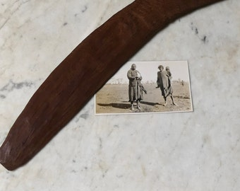 Vintage Primitive Aboriginal Hand Fashioned Australian Hard Wood  Boomerang Weapon and Original 1940's Photo of Nullabor Tribal Women